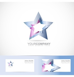 Blue star logo metal vector image