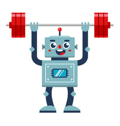 Bodybuilder robot lifts barbell vector