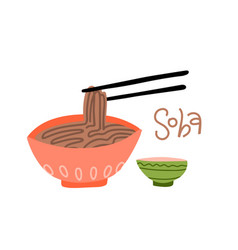 Bowl buckwheat noodles soba side view vector