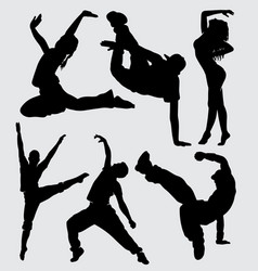 breakdance and parkour silhouette vector image