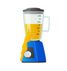 Broken blender with yellow liquid pouring out vector