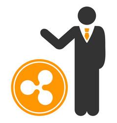 Businessman show ripple coin flat icon vector