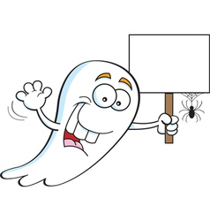 Cartoon Ghost Holding a Sign vector image
