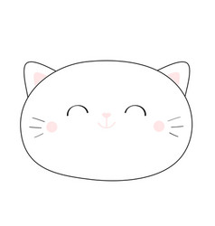 Cat smiling head face linear silhouette icon vector