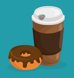 coffe and donut delicious food breakfast menu vector image