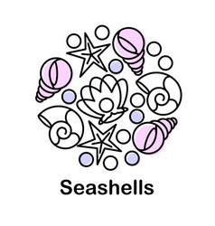 composition with seashells icons vector image