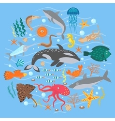 Concept Set of Cute Sea animals fish vector image