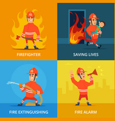 conceptual pictures of firefighter and work vector image