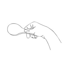 Cooking hand with serving spoon vector
