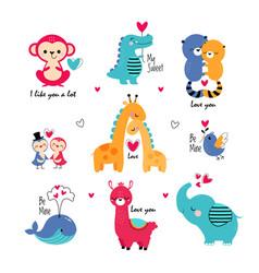 cute animals in love celebrating valentine day vector image