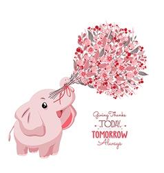 Cute card with lovely elephant elephant with a vector