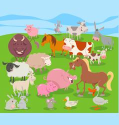 cute cartoon farm animal characters group vector image