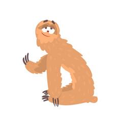 cute cartoon smiling lazy sloth character funny vector image vector image
