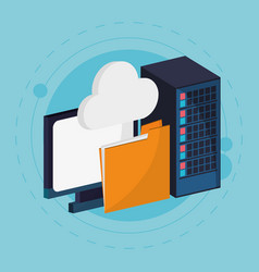 data center cloud computing folder vector image