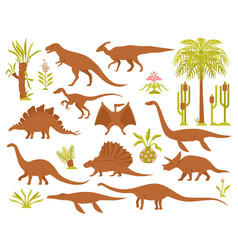 Dinosaurs and plants set vector