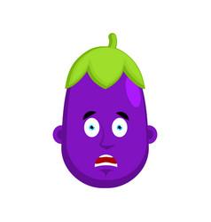 eggplant afraid emotion avatar purple vegetable vector image