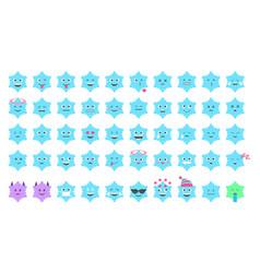 Emoji sbsnowflake set vector