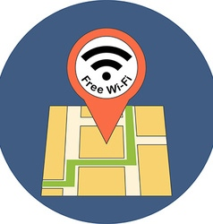 Finding free Wi-Fi zone concept Flat design Icon vector image