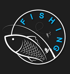 Fishing rod and fish silhouette for sport vector