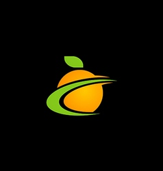 Fresh orange fruit juice logo vector