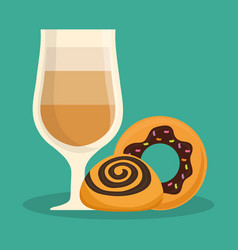 Glass cup coffee donut bread vector