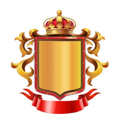 Golden shield with crown and red ribbon vector