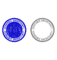 Grunge economic uncertainty scratched stamps vector