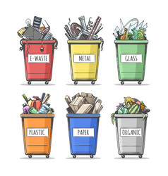 Hand drawn sorted trash can set vector