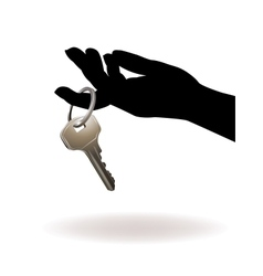 Hand holding key vector