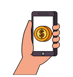 hand holding smartphone with app money currency vector image