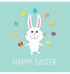 Happy easter cute bunny rabbit juggles egg flat vector
