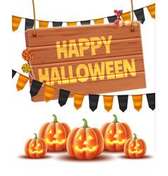 Happy halloween poster jack lanterns gourn vector
