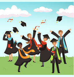 happy international graduates with diplomas and vector image