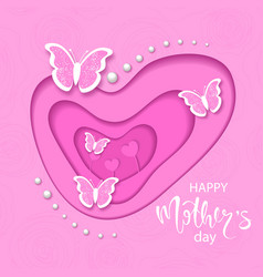 Happy mathers day banner with cut paper butterfly vector