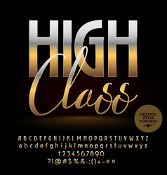High class golden alphabet letters set vector