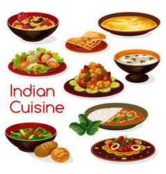 indian cuisine meal icons and dishes vector image