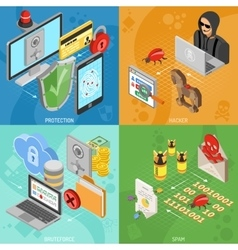 Internet Security Isometric square Banners vector image