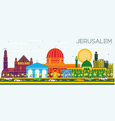 jerusalem israel skyline with color buildings and vector image