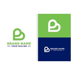 Letter b love logo negative space editable vector