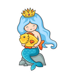 little mermaid with big fish in hands sitting on vector image