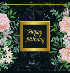 Luxury happy birthday card with pink flowers on vector