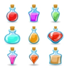 Magic beverages potions poisons icons set isolated vector