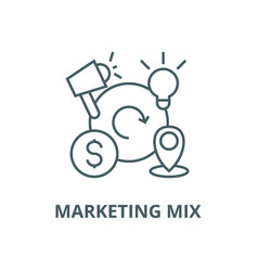 Marketing mix4p line icon linear concept vector