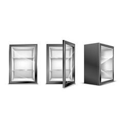 Mini refrigerator for beverages empty gray fridge vector
