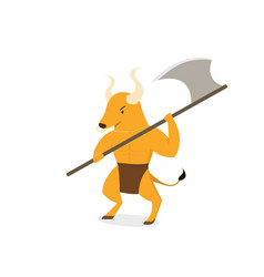 Minotaur with axe polearms in flat art vector