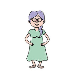 Old woman with glasses and hairstyle vector