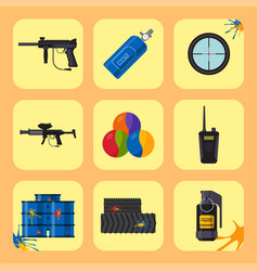 paintball club icons protection uniform and sport vector image
