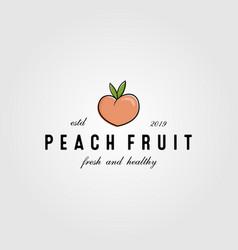 peach fresh fruit vintage cute logo design vector image