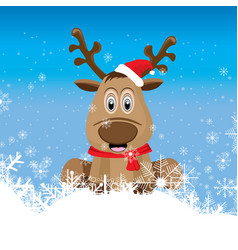 Raindeer is sitting on the snow and in front vector