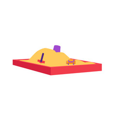 red sandbox with pile of sand and children toys in vector image